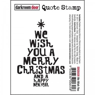 Darkroom Door - Quote Stamp - We Wish You A Merry Christmas -  Quote Stamp - Red Rubber Cling Stamp