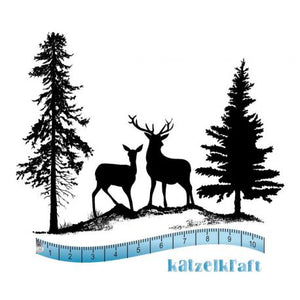 Katzelkraft - KTZ197 -  Unmounted Red Rubber Stamp Set - Winter Deer Scene