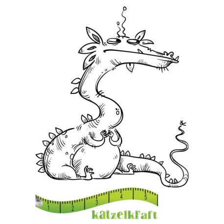 Katzelkraft - SOLO101 - Unmounted Red Rubber Stamp - Dragon