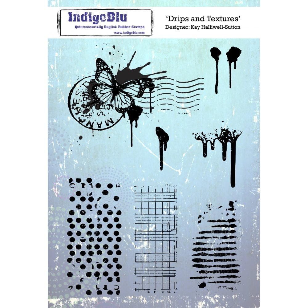 IndigoBlu - Cling Mounted Stamp - Drips and Textures