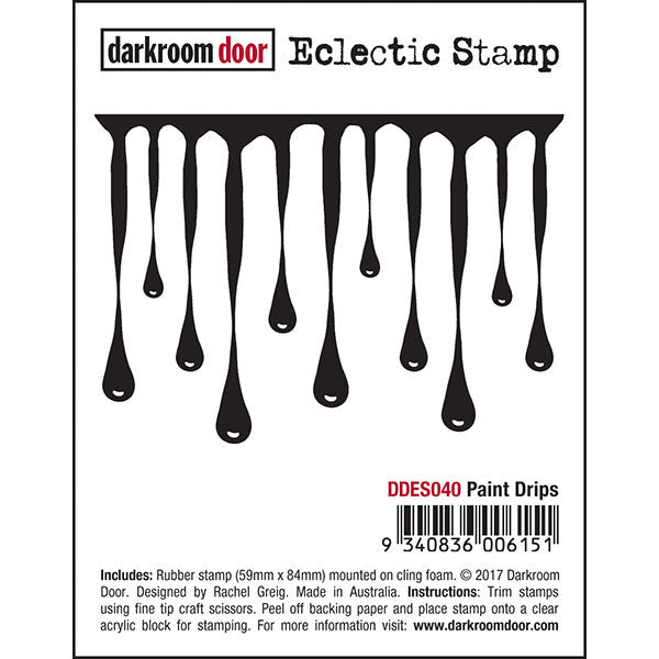 Darkroom Door - Eclectic Stamp - Paint Drips - Red Rubber Cling Stamp