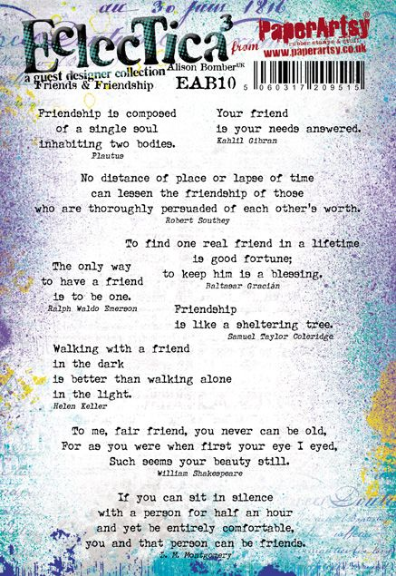 PaperArtsy - Alison Bomber 10 - Friends & Friendship - Rubber Cling Mounted Stamp Set