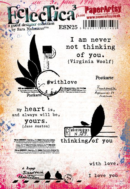PaperArtsy - Sara Naumann 25 - Rubber Cling Mounted Stamp Set