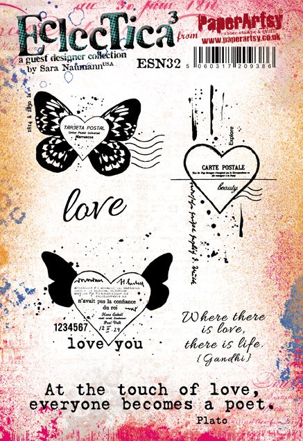 PaperArtsy - Sara Naumann 32 - Rubber Cling Mounted Stamp Set