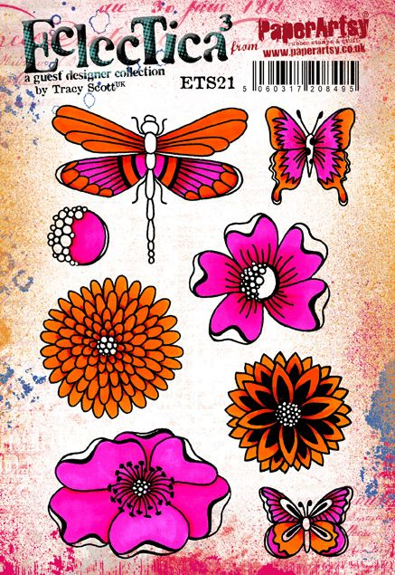 PaperArtsy - Tracy Scott 21 - Rubber Cling Mounted Stamp Set