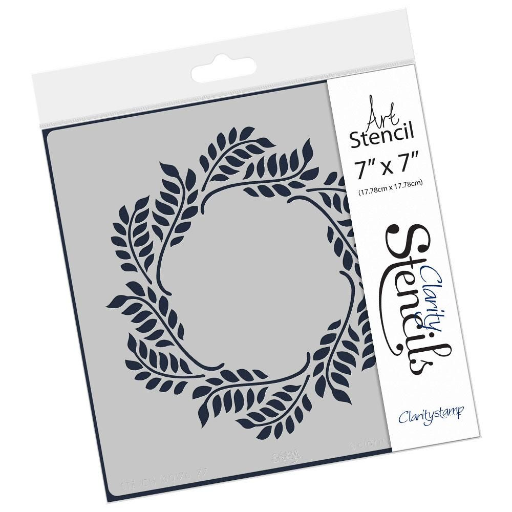 Claritystamp - 7x7 -  Stencil - Olive Branch Wreath