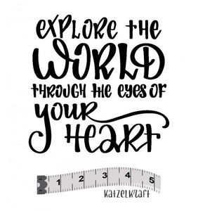 Katzelkraft - Explore the World Through The Eyes of Your Heart -  Unmounted Red Rubber Stamp