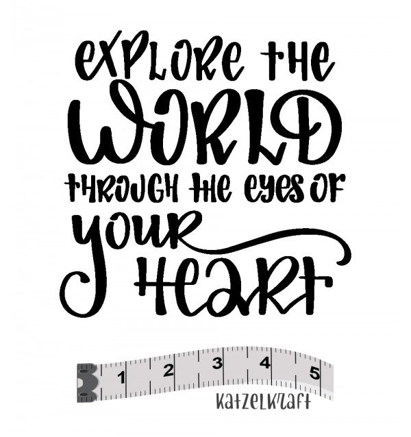 Katzelkraft - MINI110 - Unmounted Red Rubber Stamp - Explore the World Through The Eyes of Your Heart