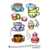 Katzelkraft - 5 O'Clock - Tea Cups - Unmounted Red Rubber Stamp Set