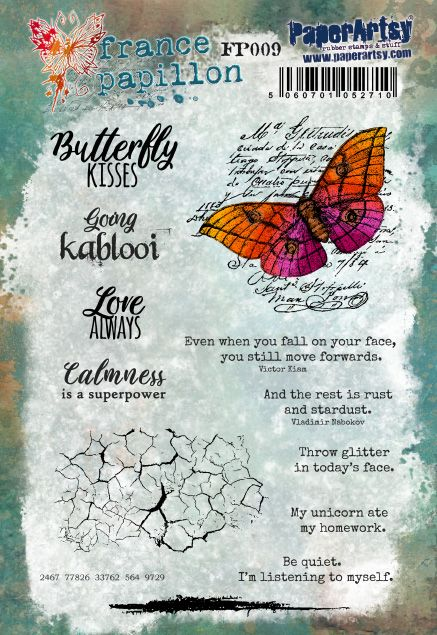 PaperArtsy - France Papillon 09 - Rubber Cling Mounted Stamp Set