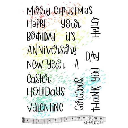 Katzelkraft - KTZ207 - Unmounted Red Rubber Stamp Set A5 - Holiday Quotes