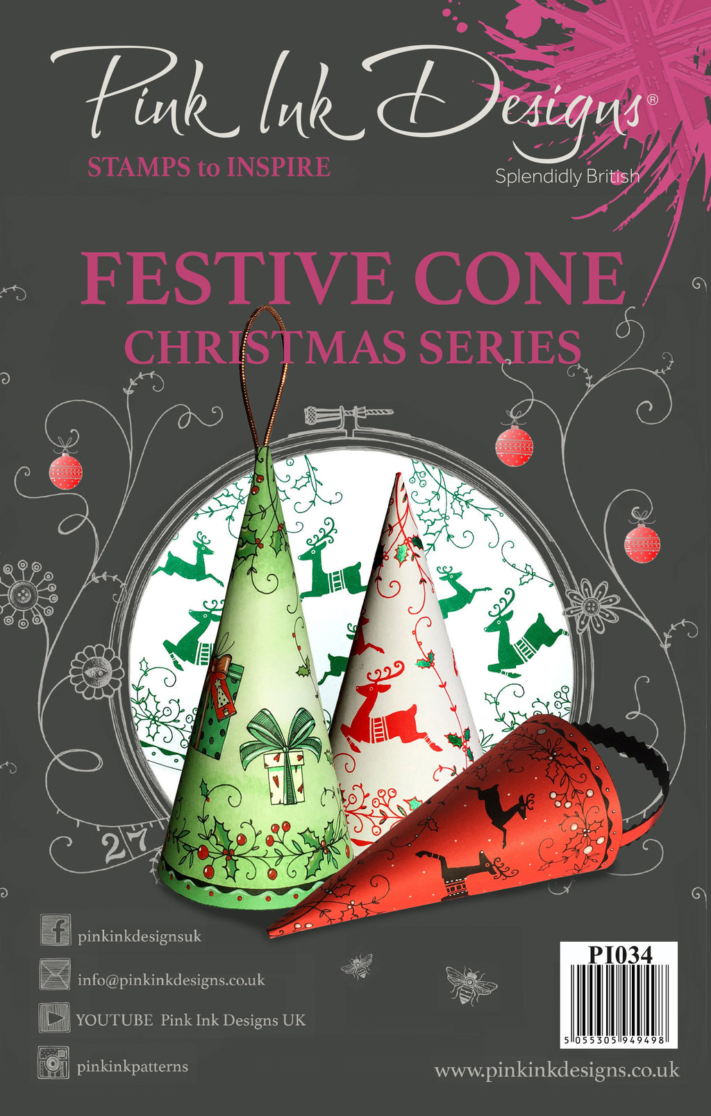 Pink Ink Designs - Clear Photopolymer Stamps - Festive Christmas Cone