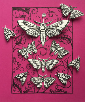 Pink Ink Designs - Clear Photopolymer Stamps and Matching Dies - Moth & Legends