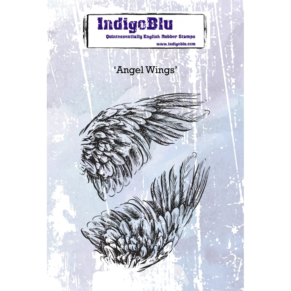 IndigoBlu - Cling Mounted Stamp - Angel Wings