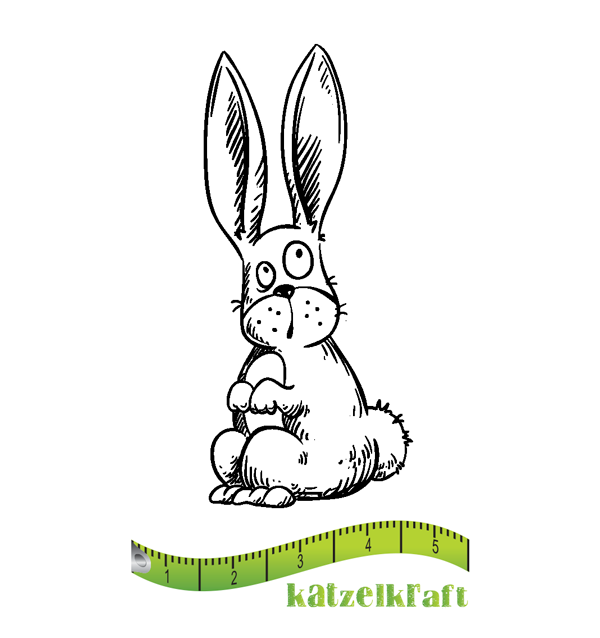 Katzelkraft - MINI113 - Unmounted Red Rubber Stamp - Rabbit - Lapin
