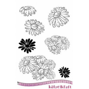 Katzelkraft - Les Marguerites - Daisy - Daisies - Unmounted Red Rubber Stamp Set A5