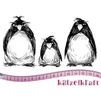 Katzelkraft - KTZ145 - Unmounted Red Rubber Stamp - Grumpy Penguins