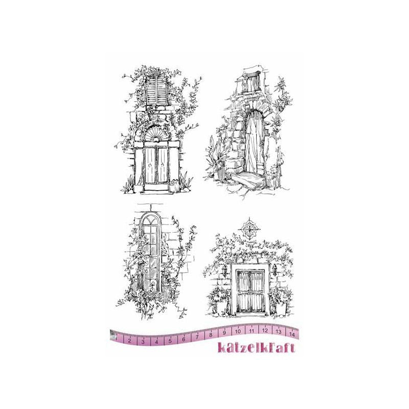 Katzelkraft - KTZ164 - Unmounted Red Rubber Stamp Set - Le Portes - Doors