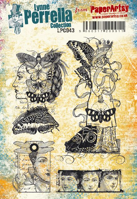 PaperArtsy - Lynne Perrella 43 - Rubber Cling Mounted Stamp Set