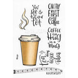 Katzelkraft - Coffee & Tea To Go - Unmounted Red Rubber Stamp Set