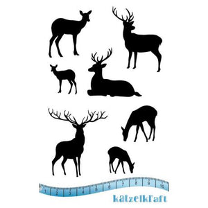 Katzelkraft - KTZ198 - Unmounted Red Rubber Stamp Set - Mini Reindeer