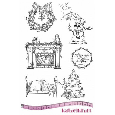 Katzelkraft - Noel - Merry Christmas - Unmounted Red Rubber Stamp Set