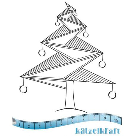 Katzelkraft - Origami Christmas Tree - Unmounted Red Rubber Stamp Set