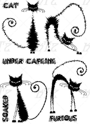 Katzelkraft - The Furieux - Caffeinated Cats - Unmounted Red Rubber Stamp Set