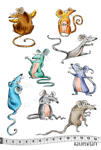 Katzelkraft - KTZ179 - Unmounted Red Rubber Stamp Set A5 - Les Rats des Villes - City Rats - Rat