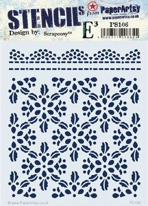 PaperArtsy - Stencil - Scrapcosy PS106 - Lacey Scalloped Border & Flower Design