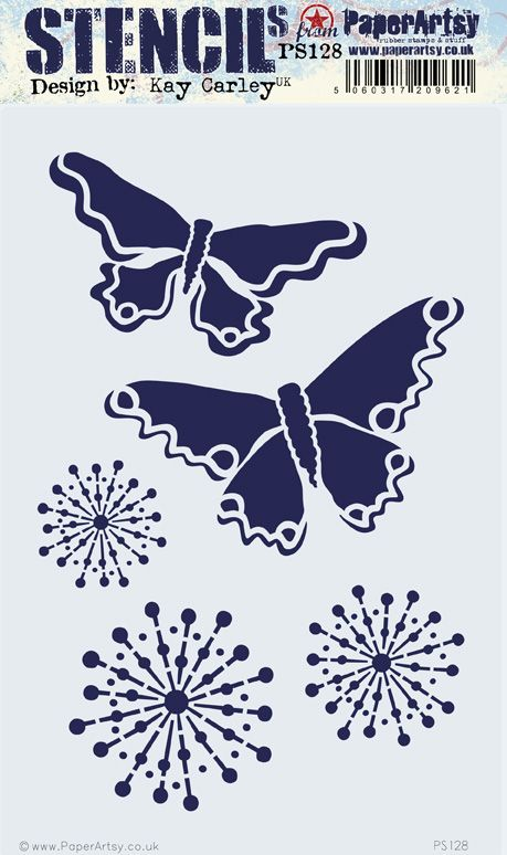 PaperArtsy - Stencil - Kay Carley - PS128 - Butterfly