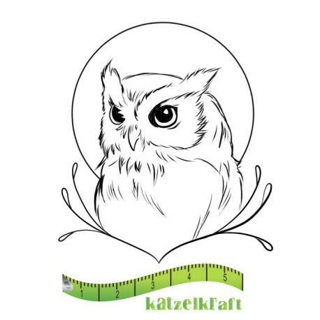 Katzelkraft - Hibou - Owl -  Unmounted Red Rubber Stamp