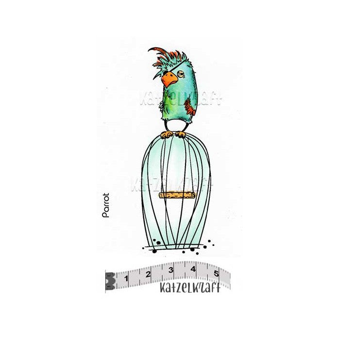 Katzelkraft - Parrot - Bird - Unmounted Red Rubber Stamp
