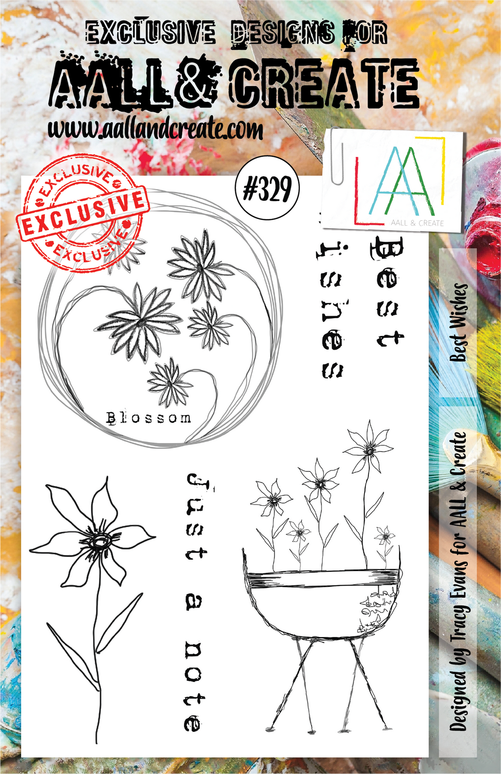 AALL & Create - Clear Stamp Set - A5 - #329 - Best Wishes - Tracy Evans