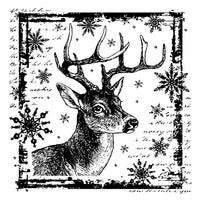 Crafty Individuals - Unmounted Rubber Stamp - Snowflake Rudolph - Reindeer