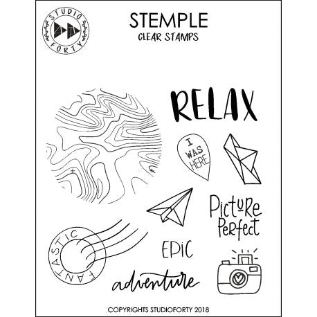 Studio Forty - Clear Polymer Stamp Set - Relax