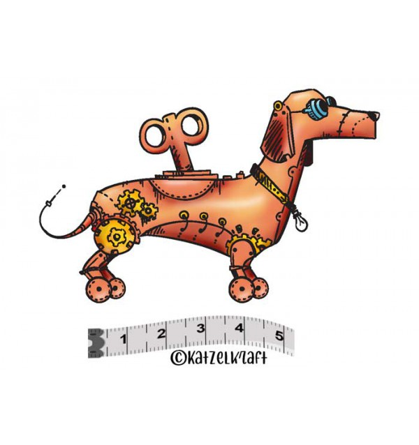 Katzelkraft - Robot Dog - Unmounted Red Rubber Stamp