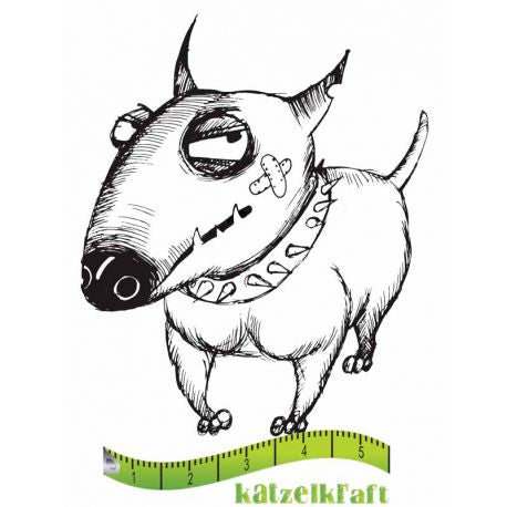 Katzelkraft - MINI086 - Unmounted Red Rubber Stamp - Dog - Voody