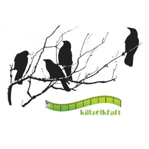 Katzelkraft - SOLO44 - Unmounted Red Rubber Stamp - Ravens Birds Silhouette