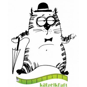 Katzelkraft - SOLO074 - Unmounted Red Rubber Stamp - The Fat Cats 3 - Charlot
