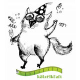 Katzelkraft - The Fat Cats 4 - Drinky - Unmounted Red Rubber Stamp
