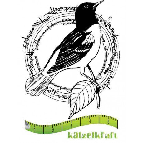 Katzelkraft - Oiseau cercle - Bird in Circle -  Unmounted Red Rubber Stamp