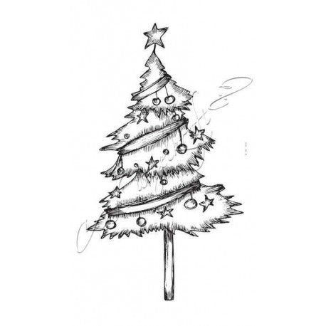 Katzelkraft - Sapin - Christmas Tree - Unmounted Red Rubber Stamp