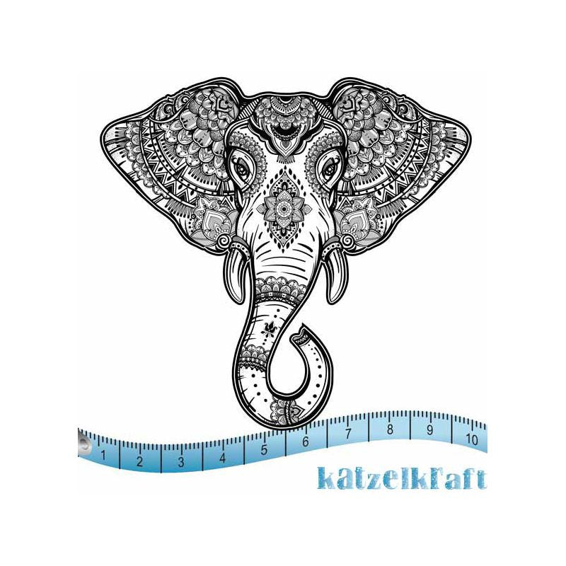Katzelkraft - SOLO64 - Unmounted Red Rubber Stamp - Elephant BOHO