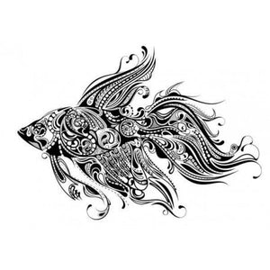 Katzelkraft - SOLO36 - Unmounted Red Rubber Stamp - Tropical Fish - Goldfish