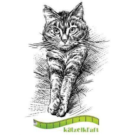 Katzelkraft - SOLO60 - Unmounted Red Rubber Stamp - Stretching Cat - Zorro