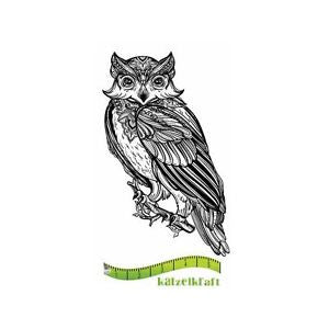 Katzelkraft - Chouette BOHO - (Owl) -  Unmounted Red Rubber Stamp