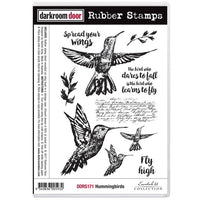 Darkroom Door - Hummingbirds - Red Rubber Cling Stamps