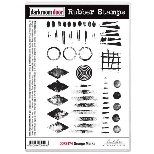 Perfect Darkroom Door   Grunge Marks   Red Rubber Cling Stamps