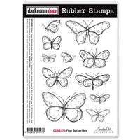 Darkroom Door - Fine Butterflies - Red Rubber Cling Stamps
